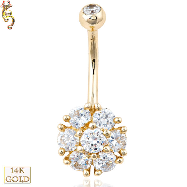 14-NB05 - 14k Solid Gold Banana Belly Ring with 10mm Flower Design