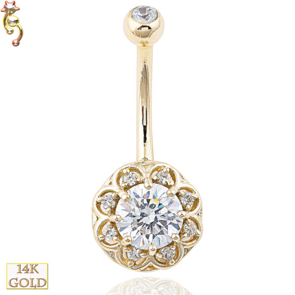 14-NB08 - 14k Solid Gold Banana Belly Ring with 10mm Flower Design