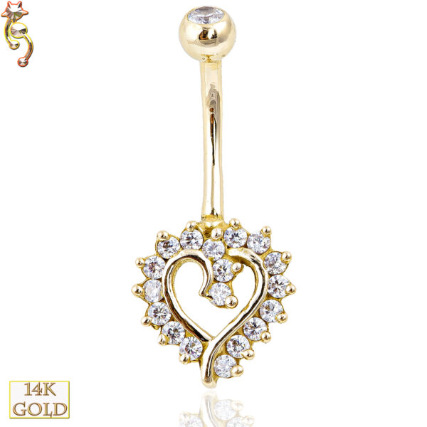 14-NB12 - 14k Solid Gold Banana Belly Ring with  11mm Heart Design