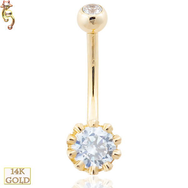 14-NB14 - 14k Solid Gold Banana Belly Ring with  7mm Round Design