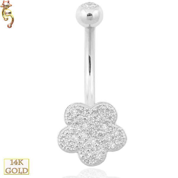 14-NB15 - 14k Solid Gold Banana Belly Ring with  9mm Flower Design