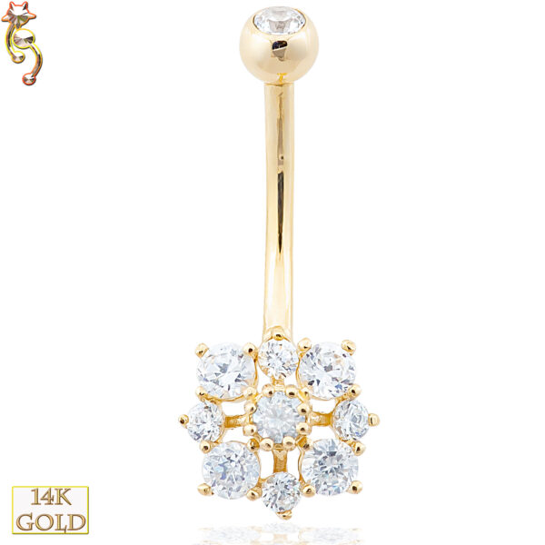 14-NB18 - 14k Solid Gold Banana Belly Ring with 9.5mm Snow Design