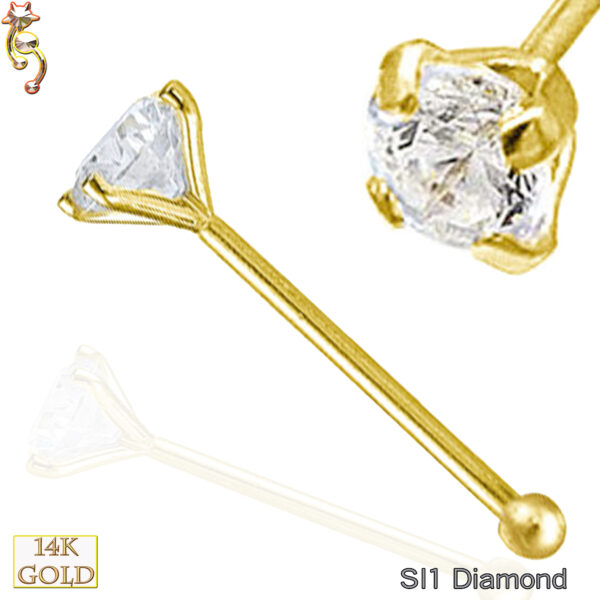 14-NR01D - 14k Solid  Gold  Nose Bone SI1 Diamond Round Prong Set