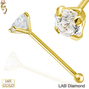 14-NR01L - 14k Solid  Gold  Nose Bone Lab Diamond Round Prong Set