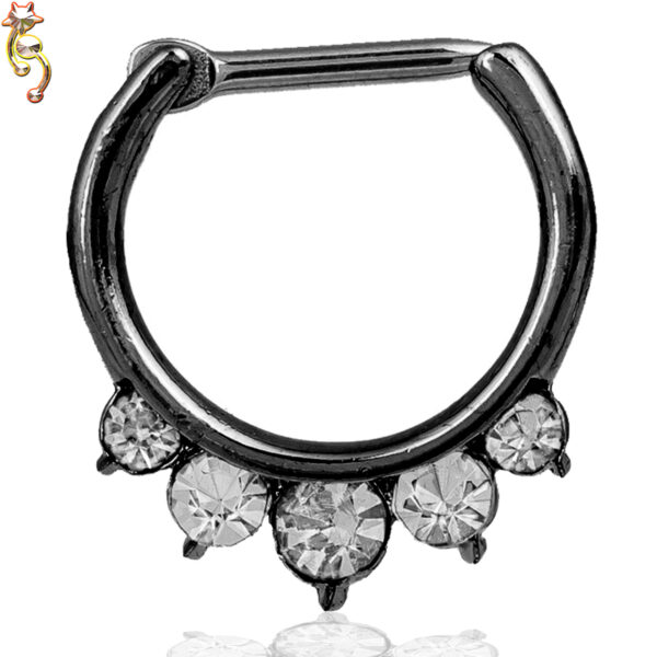 CT13 - Surgical Steel 16g Thickness Septum Clicker 5 Teardrop CZ