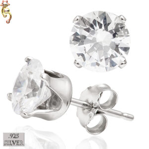 ES15-SC - 925 Sterling Silver Earrings Stamping Round Clear CZ Pair