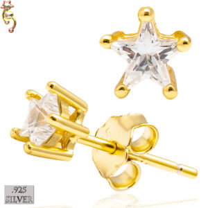 ES17-GC- 925 Earrings Gold Plated Casting Star Prong Clear CZ