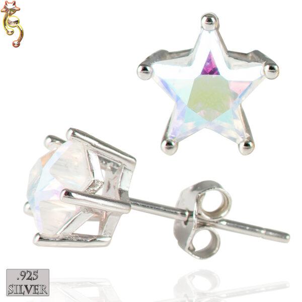 ES17-SA - 925 Silver Earrings Casting  Star Prong Set AB CZ