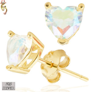 ES18-GA - 925 Earrings Gold Plated Casting Heart Prong Set AB CZ