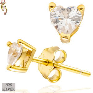 ES18-GC - 925 Earrings Gold Plated Casting Heart Prong Set Clear CZ