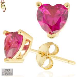ES18-GDR - 925 Earrings Gold Plated Casting Heart Prong Dark Ruby