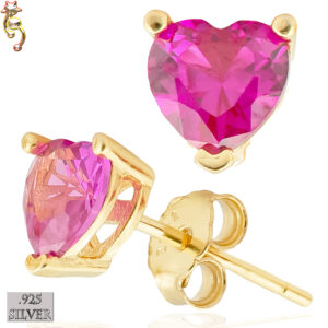 ES18-GF - 925 Earrings Gold Plated Casting Heart Prong Set Fuchsia