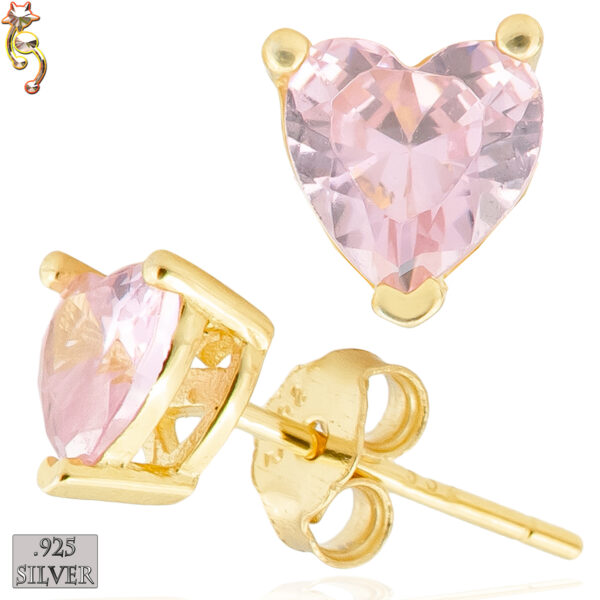 ES18-GLP - 925 Earring Gold Plated Casting Heart Prong Light Pink