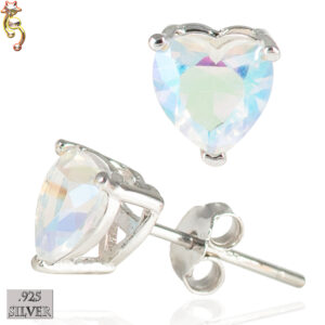 ES18-SA - 925  Silver Earrings Casting Heart Prong Setting AB CZ