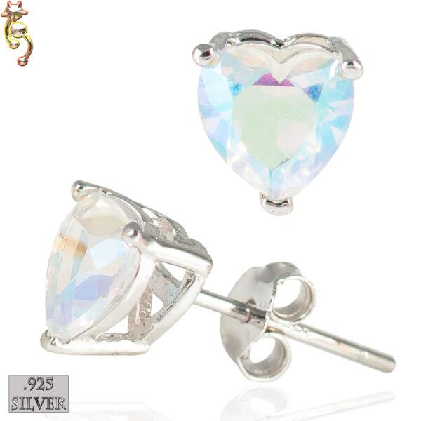 ES18-SA - 925  Silver Earrings Casting Heart Prong Setting AB CZ