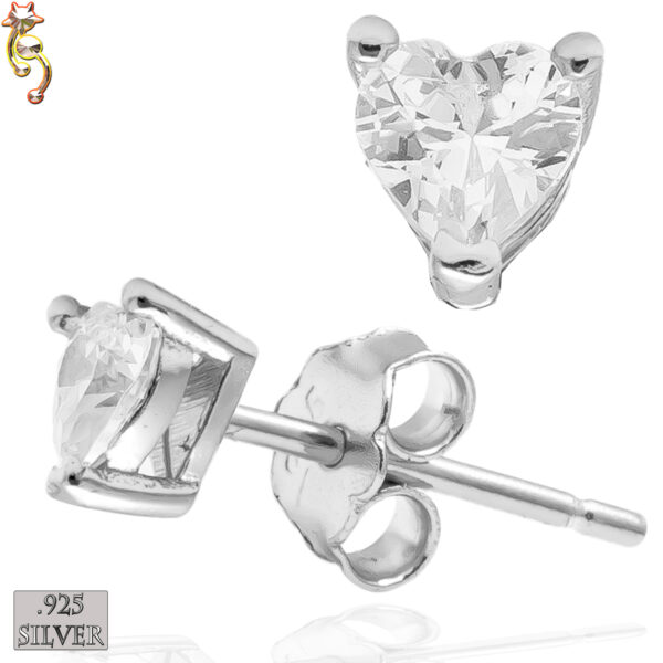ES18-SC - 925 Silver Earrings Casting Heart Prong Setting Clear CZ