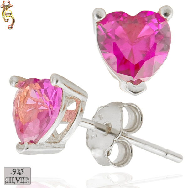 ES18-SF - 925 Silver Earrings Casting Heart Prong Setting Fuchsia CZ