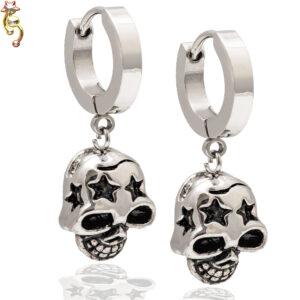 ES20 -  Steel Skull with Star Carved Design Huggies Sold as Pair