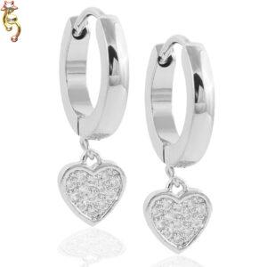 ES38 -  Stainless Steel Dangle Heart Design Huggies Sold as Pair