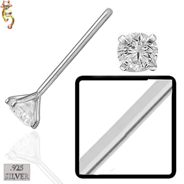 PK-NR02 - 925 Sterling Silver Nose Stud Round Prong Set in Packages