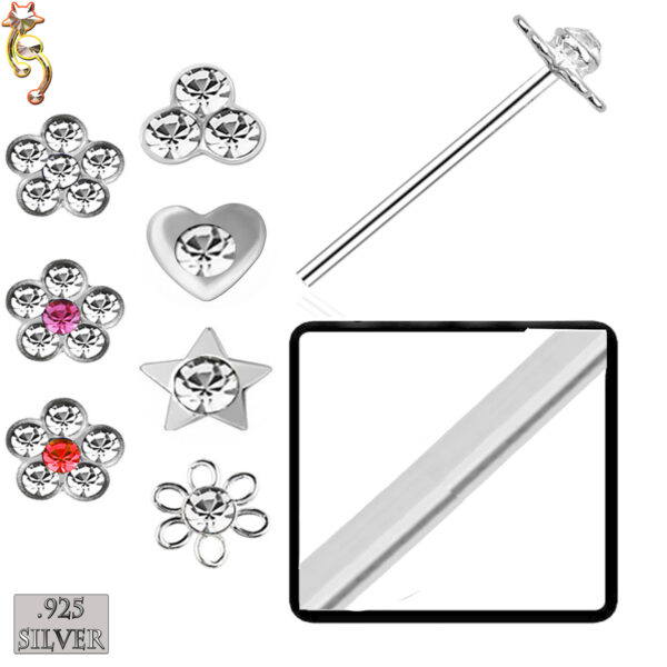 PK-NR08S - 925 Sterling Silver Nose Stud Bend it Yourself Different Design 120 Pcs