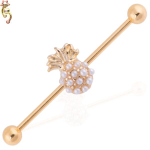 BB15 - 316L Surgical Steel Pineapple  Pearl Design Barbell Industrial