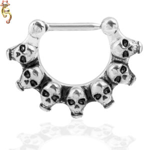 CT14 - Surgical Steel 16g Thickness Septum Clicker with Multi Skull