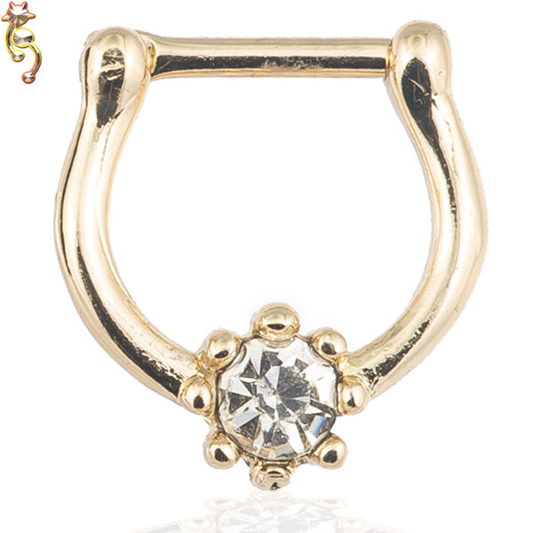 CT18 - Surgical Steel 16g Thickness Septum Clicker Prong Set CZ